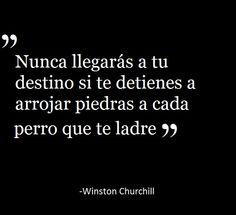 """""""Nunca llegarás a tu destino si te detienes a arrojar piedras a cada perro que te ladre"""" Winston Churchill"""