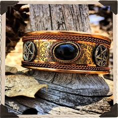 BLACK TOURMALINE COPPER BRACELET With Pentacles. For Protection & Male Witches