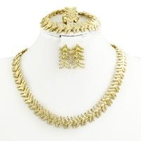 Wish | Dubai African Fashion New Romantic Small Leaf Shape Plated 18K Gold Jewelry Set Women Gold Wedding Jewelry (Color: Gold)