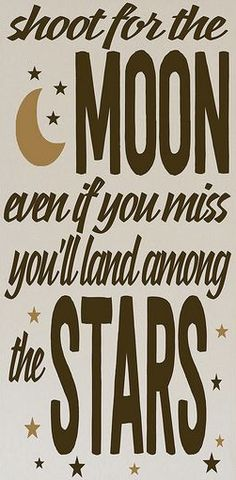 Shoot for the moon - even if you miss you'll land among the stars.