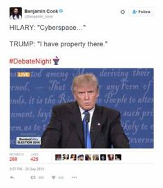 The best jokes, tweets and memes reacting to the first presidential debate between Donald Trump and Hillary Clinton.: Cyberspace
