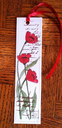 Watercolor  Bookmark  Red Poppies por Wildflowerhouse en Etsy