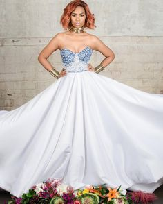 Who says a designer's bridal collection should always include a mix of the conventional wedding gowns? African Print Wedding Dress, African Wedding Attire, African Attire, African Wear, Latest African Fashion Dresses, African Dresses For Women, African Print Dresses, African Clothes, Xhosa Attire