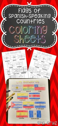 Flags of Spanish-Speaking Countries Coloring Sheets  These coloring pages practice Spanish colors using flags of Spanish-speaking countries. Line versions of each flag have the color in Spanish for each section of the flag (rojo, blanco, azul, etc.) https://www.teacherspayteachers.com/Product/Flags-of-Spanish-Speaking-Countries-Coloring-Sheets-1915508