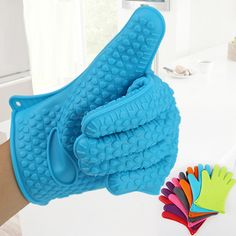 HOT Silicone Kitchen Heat Resistant Glove Pot Holder Baking BBQ Cooking Oven Mitt  91XC Store 243 #Affiliate