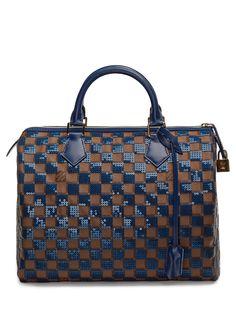 fa9c8ac5b4 Limited Edition Damier Ebene Blue Paillette Speedy 30 Borse In Pelle, Borse  Da Bowling,