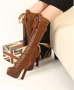 Stylish Fashion tip-High Heels Boots High Heel High Heels Boots (black,brown)