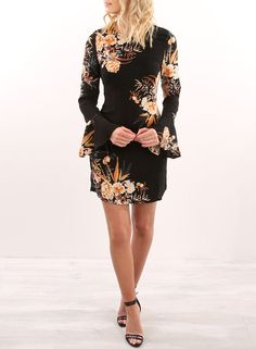 Floral Long Flare Sleeve Bodycon Dress   victoriaswing