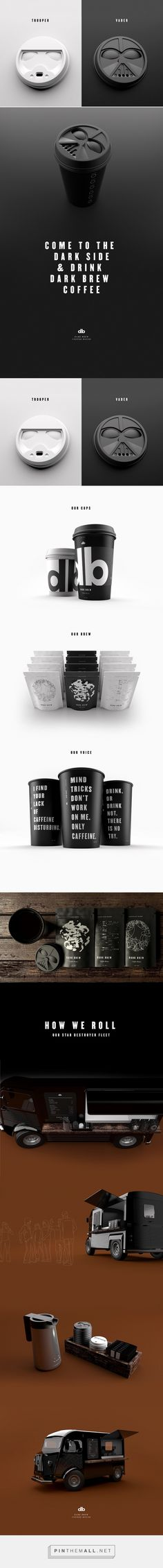 Example of creative concept design – Dark Brew Coffee House - star wars trooper vader concept by Spencer Davis & Scott Schenone Packaging Box, Coffee Packaging, Coffee Branding, Brand Packaging, Packaging Design, Logo Design, Identity Design, Star Wars Trooper, Corporate Design