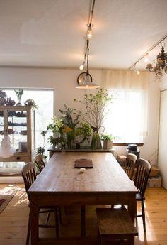 アンティークのテーブルや椅子が植物になじむ。