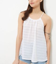 White Fine Knit Rope Stripe Cami    New Look