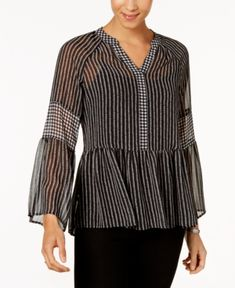 Style & Co Petite Striped Semi-Sheer Top, Created for Macy's - Black P/XL