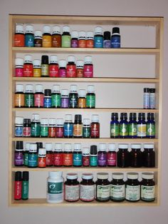 This is a shelf for essential oil storage. I had a difficult time with where to store my my oils when I started getting more and more into it. I Essential Oil Storage, Essential Oil Uses, Oils For Life, Storage Organization, Storage Ideas, Yl Oils, Made Of Wood, Wood Shelves, Doterra
