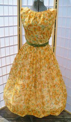 1950s swing dress/ vintage summer dress/ vintage orange floral print dress/ 1950s dress size small/ shirtwaist dress/swing dress.