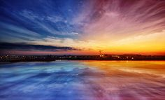 Pink and Blue City Sunset : Wallpaper Download