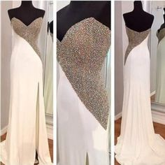 #white #chiffon #prom #party #evening #dress #dresses #gowns #cocktaildress #EveningDresses #promdresses #sweetheartdress #partydresses #QuinceaneraDresses #celebritydresses #2017PartyDresses #2017WeddingGowns #2017HomecomingDresses #LongPromGowns #blackPromDress #AppliquesPromDresses #CustomPromDresses #backless #sexy #mermaid #LongDresses #Fashion #Elegant #Luxury #Homecoming #CapSleeve #Handmade #beading