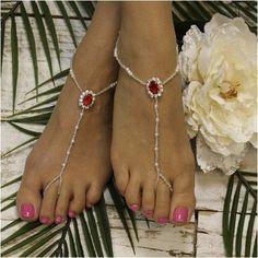 GARNET beaded barefoot sandals - red