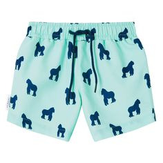 Mint and Navy Gorilla print kid's drawstring swim shorts. Available in men's sizes too, each collection from Galago Joe is dedicated to one animal, with of all profits being donated to associated charities. Mint And Navy, Mens Swim Shorts, Kids Swimwear, Swim Trunks, Pairs, Mens Fashion, Daddy, Organization, Collection