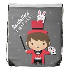 Cute Girl Magician and Bunny Kid Drawstring Backpacks