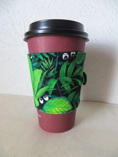 Fabric Coffee Cozy Frog Eyes Design by ThreadBasket on Etsy, $7.00