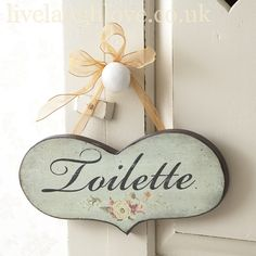 Hanging Wooden Toilette Heart with Ribbon