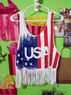 Fourth of July Holiday DIY Shirt Idea! Used a white tee, cut into a fringed cropped tank top, then painted with puffy paint