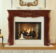 Pearl Mantels Deauville Wood Fireplace Mantel Surround in Fruitwood Finish Fireplace Mantel Surrounds, Wood Fireplace Mantel, Fireplace Shelves, Wood Mantels, Open Fireplace, Fireplace Inserts, Electric Fireplace, Fireplace Ideas, Mantel Ideas