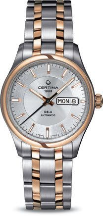 Certina Watch DS-4 Day Date Automatic #bezel-fixed #bracelet-strap-gold #brand-certina #case-material-rose-gold #case-width-38mm #classic #date-yes #day-yes #delivery-timescale-7-10-days #dial-colour-silver #gender-mens #movement-automatic #official-stockist-for-certina-watches #packaging-certina-watch-packaging #style-dress #subcat-ds-4 #supplier-model-no-c022-430-22-031-00 #warranty-certina-official-2-year-guarantee #water-resistant-100m