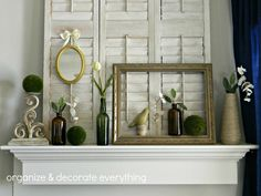 good idea--set an open frame on a mantel etc. and place objects behind it for dimension and whimsy
