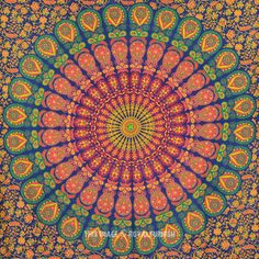 Green Floral Psychedelic Hippie Mandala Tapestry Wall Hanging Dorm and Bedroom on RoyalFurnish.com