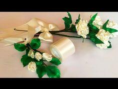 Satin Ribbon Flowers, Silk Flowers, Fabric Flowers, Ribbon Crafts, Diy Crafts, Flower Video, Silk Ribbon Embroidery, Crepe Paper, Handmade Flowers