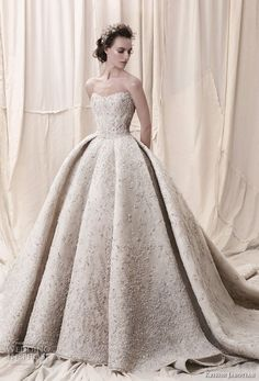 krikor jabotian spring 2018 bridal straplss semi sweetheart neckline full embellishment glamorous princess ball gown a line wedding dress open back royal train (05) mv -- Krikor Jabotian Spring 2018 Wedding Dresses
