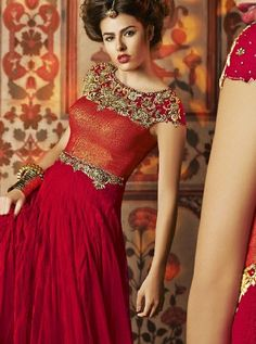 @Shree_Designer's striking 'Gambling Red Net Designer #Anarkali Suit' @ Rs 15,855