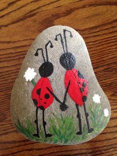 Ladybug lovers painted rock
