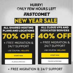 "Let's say ""Hello"" to 2021 with a some irresistible hosting Offers. Save More on Hosting with FastComet New Year 2021 Offers: Save 70% Off New Shared Plans (1/2/3 years). Save 40% Off New Cloud VPS plans (1 month). Save 30% Off New Dedicated CPU Server Plans (1 month). Save 80%+ Off Selected Domains. #UpdatedReviews"
