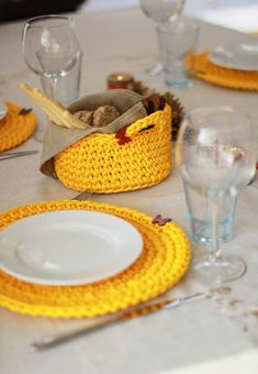 Placemats Chrochet placemats basketTable by HandfulCrafts on Etsy Diy Arts And Crafts, Diy Crafts To Sell, Crochet Case, Table Coasters, Yellow Table, Crochet Basket Pattern, Crochet Amigurumi, Crochet Home Decor, Table Accessories