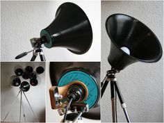 Studio Lamp made from upcycled LP and Tripod #Lamp, #Light, #Upcycled, #Vinyls