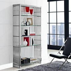 Modway Furniture Modern Gridiron Stainless Steel Bookshelf in Silver E – Minimal & Modern