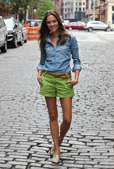 Don't really like the denim top, but I love the colored shorts!