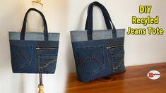 Please click the link for tutorial Diy Tote Bag, Reusable Tote Bags, Diy Sac, Sacs Diy, Diy Bags Tutorial, Recycled Fashion, Denim Bag, Quilted Bag, Sewing Tutorials