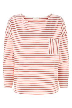 Coral stripe jersey top in 100% organic Fairtrade certified cotton. Front pocket and long sleeves. Length 60cm.