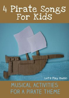 4 Pirate Songs For Kids - Let's Play Music 4 Pirate SongsFor Kids with pirate themed musical activites Should you really like arts and crafts an individual will appreciate this info! Pirate Songs For Kids, Preschool Pirate Theme, Pirate Activities, Preschool Music, Kids Songs, Pirates For Kids, Pirate Kids, Kids Pirate Crafts, Pirate Games