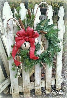 Christmas wreath on fence