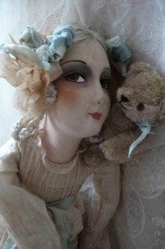 Antique French Boudoir Doll Paris Teddy Bear Fashion Doll C 1920 | eBay