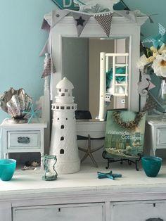 Antique dresser in coastal guest room! Seaside Decor, Coastal Decor, Dado Rail, Dresser Top, Apartment Renovation, Bedroom Images, Yellow Walls, Candle Lanterns, Other Rooms