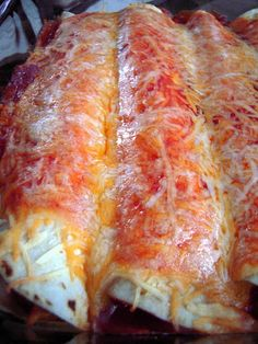 Three Cheese Chicken Enchiladas - use rotisserie chicken for quick assembly!