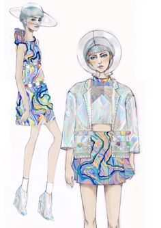 #illustration #fashiondesign #thesis #spaceage #psychedelic #hologram #silapakorn #realisticland