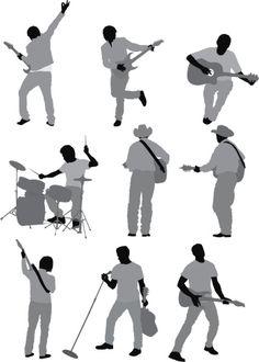 Vectores libres de derechos: Multiple images of musicians