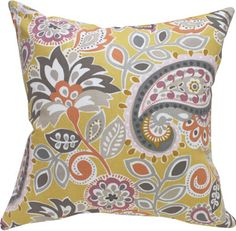 "Ollie, Mango"" 18""x18"" Decorative Throw pillow, paisley 
