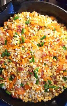 Jimaca Recipes, Fresh Corn Recipes, Cajun Recipes, Veggie Recipes, Cooking Recipes, Cajun Corn Recipe, Nopalitos Recipe, Maque Choux Recipe, Kitchens